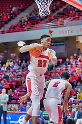 NORMAL, IL - November 03:  William Tinsley grabs the rebound near Zach Copeland during a college basketball game between the ISU Redbirds  and the Augustana Vikings on November 03 2018 at Redbird Arena in Normal, IL. (Photo by Alan Look)