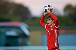 BANGOR, WALES - Monday, October 15, 2018: Wales' Morgan Boyes takes a throw-in during the UEFA Under-19 International Friendly match between Wales and Poland at the VSM Bangor Stadium. (Pic by Paul Greenwood/Propaganda)