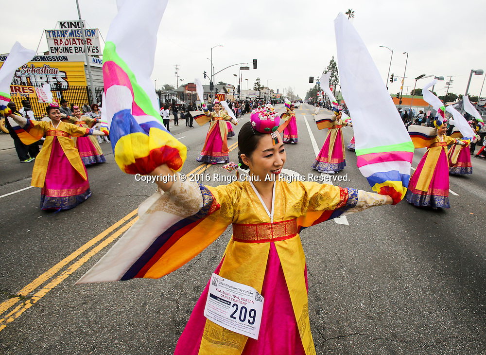 Korean dancers perform during the Martin Luther King Jr. parade in Los Angeles on Monday Jan. 18, 2016. The 31st annual Kingdom Day Parade honoring Martin Luther King Jr. was themed &quot;Our Work Is Not Yet Done&quot;(Photo by Ringo Chiu/PHOTOFORMULA.com)<br /> <br /> Usage Notes: This content is intended for editorial use only. For other uses, additional clearances may be required.