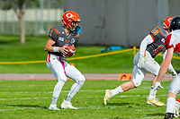 KELOWNA, BC - OCTOBER 6: Alex Douglas #1 of Okanagan Sun catches the ball from the snap against the Vancouver Island Raiders at the Apple Bowl on October 6, 2019 in Kelowna, Canada. (Photo by Marissa Baecker/Shoot the Breeze)