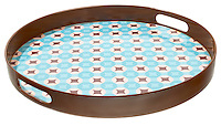 plastic brown and blue diamond rachel ray serving tray