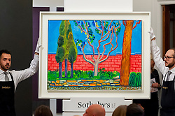 "© Licensed to London News Pictures. 07/10/2016. London, UK.   ""Guest House Wall"" by David Hockney sold for a hammer price of £1.8m (est £1.8-2.5m) at Sotheby's Italian and Contemporary Art evening sale in New Bond Street. Photo credit : Stephen Chung/LNP"