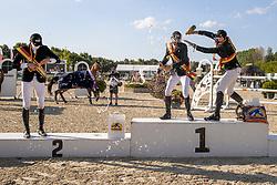 Podium Young Riders, Mornsinkhof Simon, Sebrechts Max, Philippaerts Thibault<br /> Belgisch Kampioenschap Jeugd Azelhof - Lier 2020<br /> © Hippo Foto - Dirk Caremans<br /> 02/08/2020