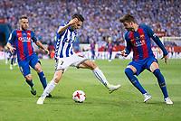 Deportivo Alaves's forward Ruben Sobrino and FC Barcelona's defender Jordi Alba and  defender Gerard Pique during Copa del Rey (King's Cup) Final between Deportivo Alaves and FC Barcelona at Vicente Calderon Stadium in Madrid, May 27, 2017. Spain.<br /> (ALTERPHOTOS/BorjaB.Hojas)