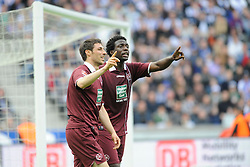 21.04.2012, Olympiastadion, Berlin, GER, 1. FBL, Hertha BSC Berlin vs 1. FC Kaiserslautern, 32. Spieltag, im Bild Mathias ABEL (1. FC Kaiserslautern/links) und RODNEI (1. FC Kaiserslautern) meckern ueber eine Entscheidung zur Ecke fuer Hertha. // during the German Bundesliga Match, 32th Round between Hertha BSC Berlin and 1. FC Kaiserslautern at the Olympiastadium, Berlin, Germany on 2012/04/21. EXPA Pictures © 2012, PhotoCredit: EXPA/ Eibner/ Johannes Koziol..***** ATTENTION - OUT OF GER *****