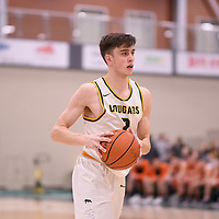 3rd year guard Samuel Hillis (2) of the Regina Cougars in action during the Men's Basketball Play-In game on February  8 at Centre for Kinesiology, Health and Sport. Credit: Arthur Ward/Arthur Images