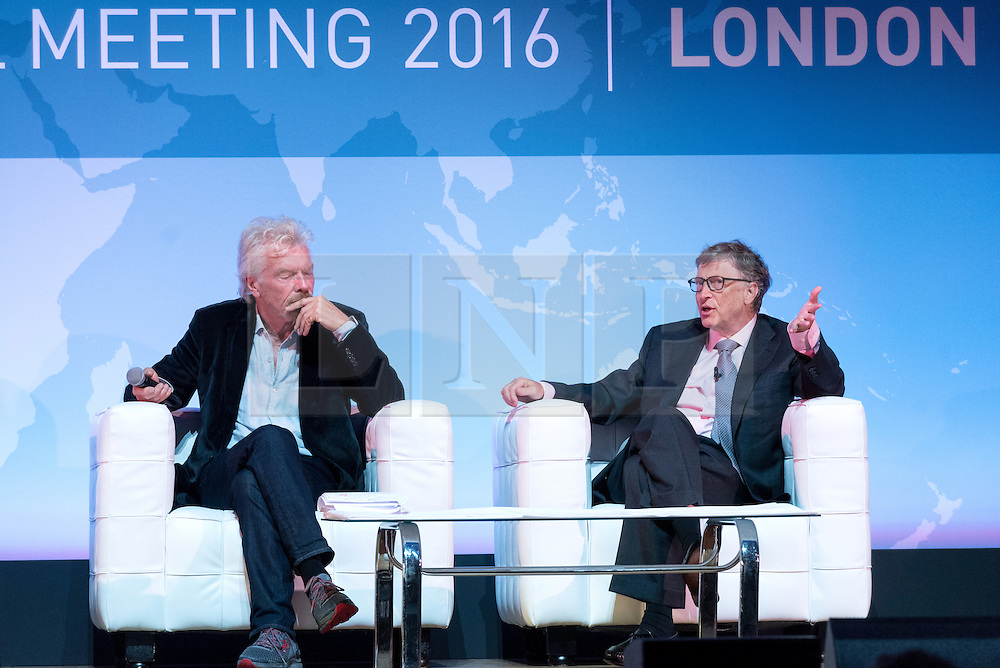 """© Licensed to London News Pictures. 26/10/2016. SIR RICHARD BRANSON and BILL GATES speak at the Joint Session Grand Challenges and Keystone Symposia """"Translational Vaccinology in Global Health"""" conferences, October 26, 2016, London, UK."""" London, UK. Photo credit: Ray Tang/LNP"""