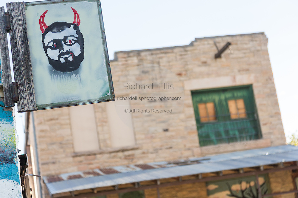 Devil mural painted on a building in Old Firehouse Alley in the Old Town historic shopping and restaurant district in Fort Collins, Colorado.