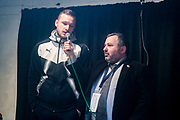 Ivor Heller speaks with AFC Wimbledon Midfielder Dean Parrett (18) as he is awarded man of the match after the EFL Sky Bet League 1 match between AFC Wimbledon and Fleetwood Town at the Cherry Red Records Stadium, Kingston, England on 30 March 2018. Picture by Stephen Wright.