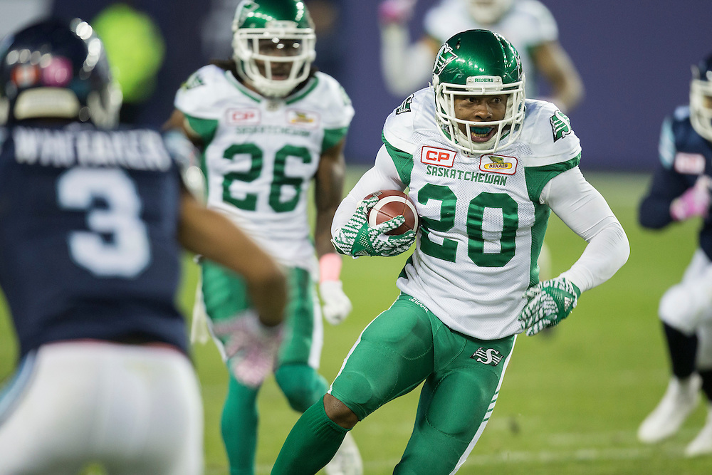Otha Foster III of the Saskatchewan Roughriders runs the ball during the 4th quarter of their CFL game against the Toronto Argonauts at BMO Field in Toronto on Saturday,  October 15, 2016.  (CFL PHOTO - Geoff Robins)