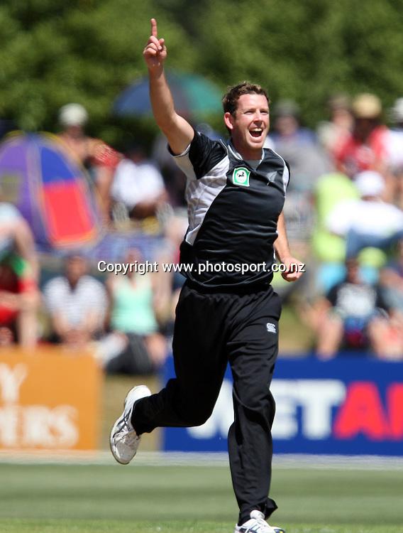 Ian Butler celebrates taking the wicket of Aftab Ahmed.<br /> Cricket - 2nd ODI New Zealand Black Caps v Bangladesh, 8 February 2010, University Oval, Dunedin, New Zealand.<br /> International Cricket Season 2009/2010<br /> Photo: Rob Jefferies/PHOTOSPORT