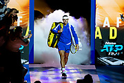 Rafael Nadal of Spain walks onto court <br /> during the Nitto ATP Finals at the O2 Arena, London, United Kingdom on 13 November 2019.