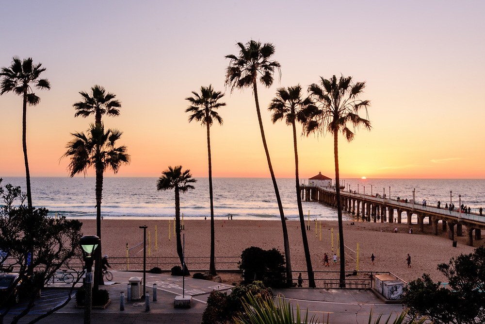 Sunset, Palm Trees, Pier, Manhattan Beach, an affluent coastal city in Los Angeles County, California