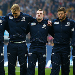 LONDON, ENGLAND - OCTOBER 18: Scotland [layers line up during the Rugby World Cup Quarter Final match between Australia v Scotland at Twickenham Stadium on October 18, 2015 in London, England. (Photo by Steve Haag)