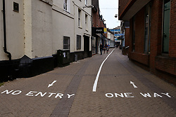 Chain Street Reading, a pedestrian route now marked out in lanes in preparation for shops re-opening on Monday 15th June. Easing of Coronavirus lockdown, Reading, UK 12 June 2020