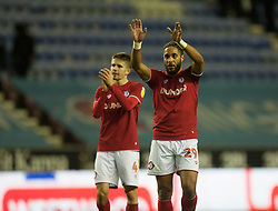 Ashley Williams of Bristol City (R) applauds the fans at the final whistle - Mandatory by-line: Jack Phillips/JMP - 11/01/2020 - FOOTBALL - DW Stadium - Wigan, England - Wigan Athletic v Bristol City - English Football League Championship