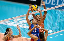08-08-2014 NED: FIVB Grand Prix Nederland - Puerto Rico, Doetinchem<br /> (L-R) Robin de Kruijf, Vilmarie Mojica, Celeste Plak