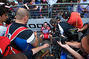 Alessandro Petacchi needed a few minutes to catch his breath while sitting on the tarmac before taking questions about his near-stage victory. Stage 6.