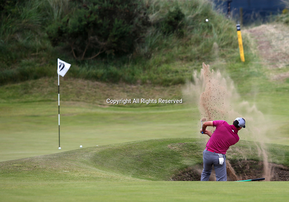 July 19th 2017, Royal Birkdale Golf Club, Southport, England; The 146th Open Golf Championship, Final Practice Day; Sergio Garcia (ESP) splashes out of the bunker guarding the front of the fifth hole