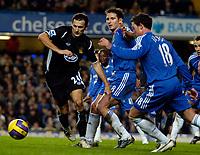 Photo: Ed Godden/Sportsbeat Images.<br />Chelsea v Wigan Athletic. The Barclays Premiership. 13/01/2007. Wigan's Josip Skoko (L), is met by Chelsea's Frank Lampard and Wayne Bridge.