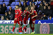Goal Fulham midfielder Tom Cairney (10) scores a goal and celebrates 0-1 during the EFL Sky Bet Championship match between Reading and Fulham at the Madejski Stadium, Reading, England on 1 October 2019.