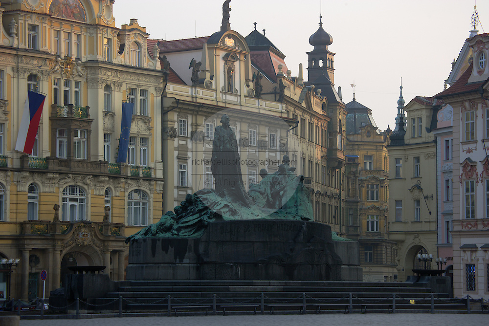 The Jan Hus Monument in Old Town Square, Prague, Czech Republic. Born in 1370, Hus became an influential religious thinker, philosopher, and reformer in Prague.