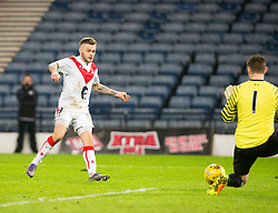 Airdrie's Iain Russell misses a chance. Queen's Park 2 v 1 Airdrie, Scottish Football League Division One game played 7/1/2017 at Hampden.