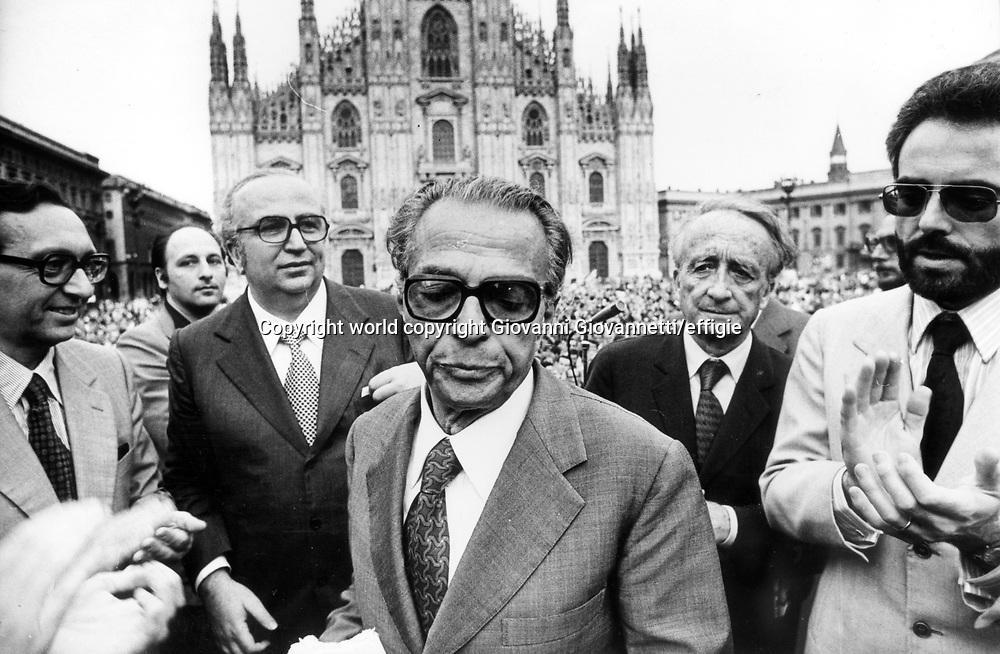 Giovanni Spadolini, Ugo La Malfa, Pietro Bucalossi<br />Milano 1977<br />world copyright Giovanni Giovannetti/effigie / Writer Pictures<br /> <br /> NO ITALY, NO AGENCY SALES / Writer Pictures<br /> <br /> NO ITALY, NO AGENCY SALES