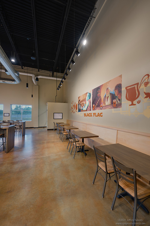 Interior photo of Black Flag Brewing Company in Columbia Maryland by Jeffrey Sauers of Commercial Photographics, Architectural Photo Artistry in Washington DC, Virginia to Florida and PA to New England