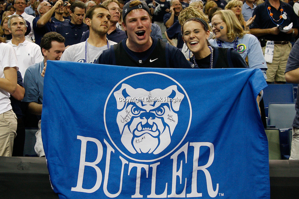 Mar 26, 2011; New Orleans, LA;  Butler Bulldogs fans celebrate in the stands following a win over the Florida Gators in the semifinals of the southeast regional of the 2011 NCAA men's basketball tournament at New Orleans Arena. Butler defeated Florida 74-71.  Mandatory Credit: Derick E. Hingle