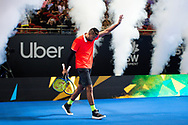 SYDNEY, NSW - JANUARY 07: Nick Kyrgios (AUS) walks on to court at The Sydney FAST4 Tennis Showdown on January 07, 2018, at Qudos Bank Arena in Homebush, Australia. (Photo by Speed Media/Icon Sportswire)