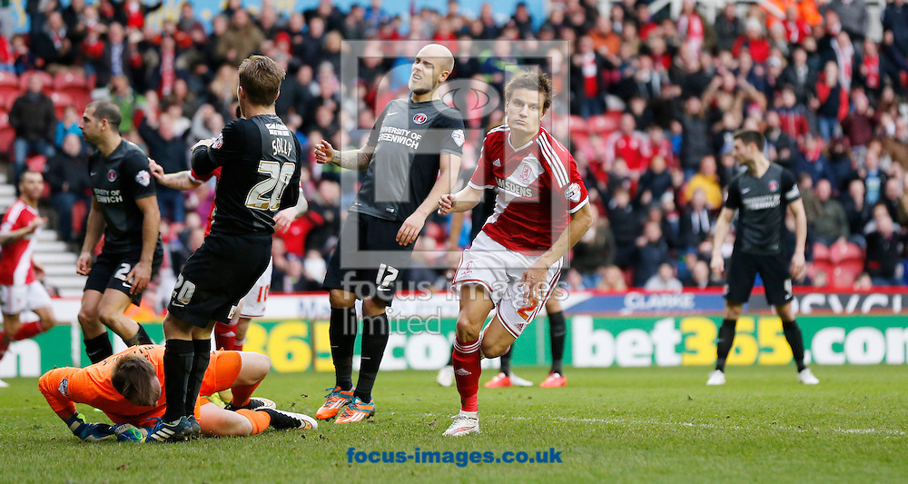 Jelle Vossen of Middlesbrough celebrates scoring to make it 2-1 during the Sky Bet Championship match at the Riverside Stadium, Middlesbrough<br /> Picture by Simon Moore/Focus Images Ltd 07807 671782<br /> 07/02/2015
