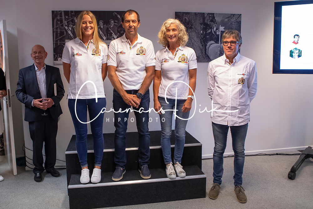 Team Endurance, Schuiten Louna, Bastijns Peter, Boulanger Carine, Arnould Pierre (Chef d'Equipe)<br /> Team presentation for WEG Tryon 2018<br /> Zaventem 2018<br /> © Hippo Foto - Dirk Caremans<br /> 22/08/2018