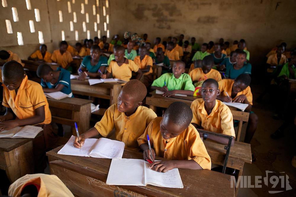 Students learning in a classroom at Wungu School, Ghana.