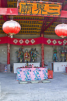 The ancient village of Yangmei is approximately 30 kilometres from the provincial capital of Nanning.   San Jie Temple in Yangmei has been rebuilt after being destroyed in the cultural revolution
