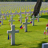 American and Philippine flags planted at each of the headstones in the Manila American Cemetery & Memorial in Taguig City