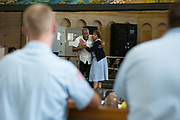 Corrections Officers keep watch during a performance of Porgy and Bess at Attica Correctional Facility in Attica, New York on Tuesday, July 25, 2017. The Glimmerglass Festival, an opera company in Cooperstown, New York, performed songs for about 200 inmates.