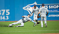 Sep 26, 2015; Toronto, Ontario, CAN; Tampa Bay Rays Kevin Kiermaier (39) fumbles a catch to allow Toronto Blue Jays center field Kevin Pillar (11) an RBI double in the third inning at Rogers Centre. Mandatory Credit: Peter Llewellyn-USA TODAY Sports