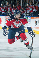 KELOWNA, CANADA - MARCH 27: Justin Hamonic #6 of Tri-City Americans skates against the Kelowna Rockets on March 27, 2015 at Prospera Place in Kelowna, British Columbia, Canada.  (Photo by Marissa Baecker/Shoot the Breeze)  *** Local Caption *** Justin Hamonic;