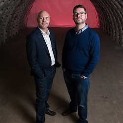 London, UK - 21 February 2014: Steven Dring (L) and Richard Ballard (R) pose for a portrait in the Zero Carbon Food - Growing Underground tunnels in Clapham