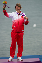2012 Olympic Games London / Weymouth<br /> RSX Medal Ceremonies<br /> Miarczynski Przemyslaw, (POL, RS:X Men)