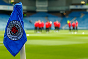 The Aberdeen squad arrive and are out on the pitch ahead of the Ladbrokes Scottish Premiership match between Rangers and Aberdeen at Ibrox, Glasgow, Scotland on 27 April 2019.