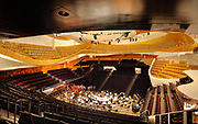 Main symphony hall by Jean Nouvel, opened in 2015, home of the Orchestre de Paris, at the Philarmonie de Paris, or Philharmonie 1, in the Cite de la Musique in the Parc de la Villette in the 19th arrondissement of Paris, France. The building houses a symphony hall, concert halls, exhibition spaces, rehearsal rooms, educational services, restaurant and bars. Picture by Manuel Cohen