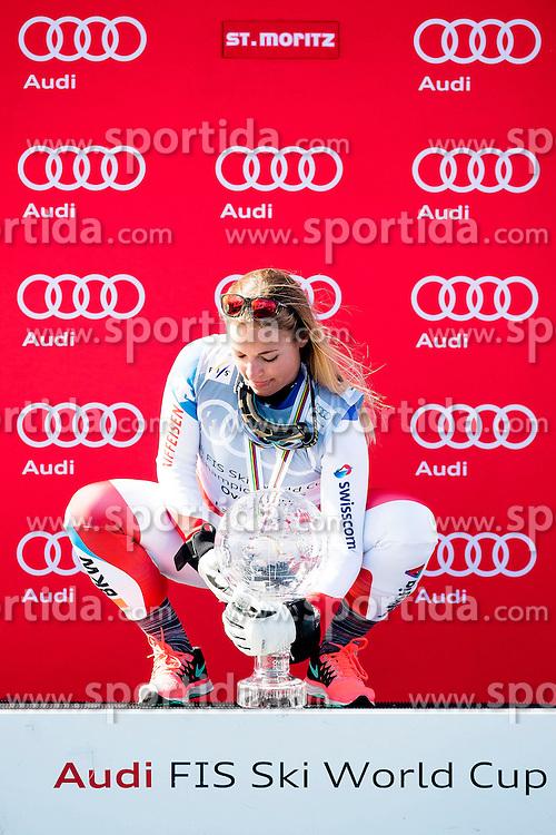 20.03.2016, Engiadina, St. Moritz, SUI, FIS Weltcup Ski Alpin, St. Moritz, Weltcup Siegerehrung, im Bild Lara Gut (SUI) mit der grossen Kristallkugel fuer den Sieg im Gesamtweltcup // during Alpine World Cup award winner ceremony of St. Moritz Ski Alpine World Cup finals at the Engiadina in St. Moritz, Switzerland on 2016/03/20. EXPA Pictures &copy; 2016, PhotoCredit: EXPA/ Freshfocus/ Manuel Lopez<br /> <br /> *****ATTENTION - for AUT, SLO, CRO, SRB, BIH, MAZ only*****