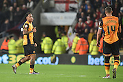 Hull City striker Abel Hernandez gives thumbs up to Jake Livermore of Hull City after scoring to go 2-0 up during the Sky Bet Championship match between Hull City and Burnley at the KC Stadium, Kingston upon Hull, England on 26 December 2015. Photo by Ian Lyall.