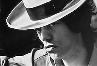 English singer Mick Jagger of the Rolling Stones in a panama hat, October 1973.