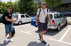 Sandi Cebular and Miha Zupan of Slovenia Basketball national team at departure to Rogla before World Championship in Turkey, on July 10, 2010 at KZS, Ljubljana, Slovenia. (Photo by Vid Ponikvar / Sportida)
