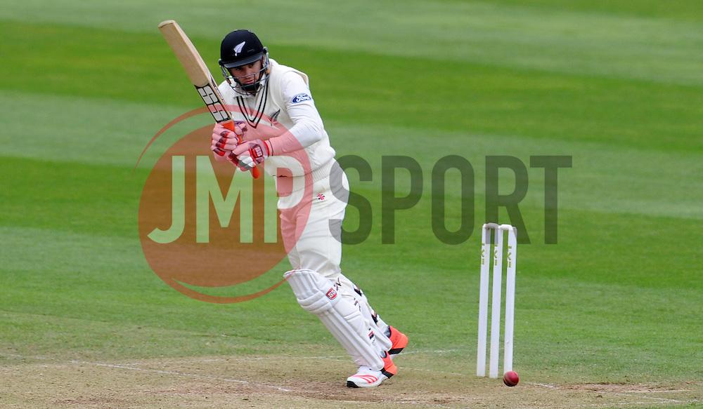 New Zealand's Doug Bracewell flicks the ball. Photo mandatory by-line: Harry Trump/JMP - Mobile: 07966 386802 - 10/05/15 - SPORT - CRICKET - Somerset v New Zealand - Day 3- The County Ground, Taunton, England.