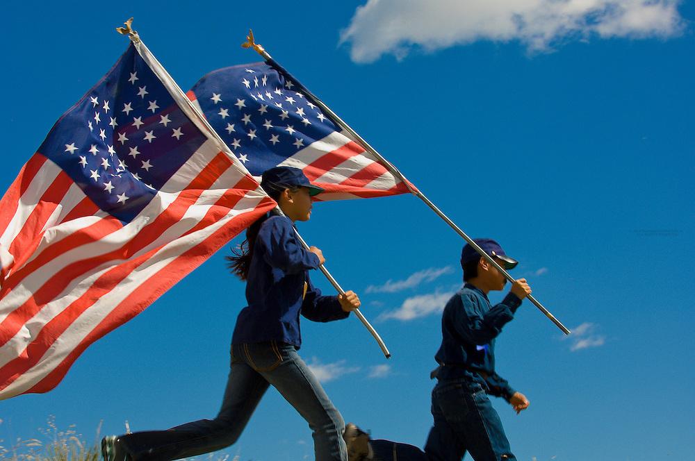 Civil war battle reenactment by children from Wilder Elementary School at Chatfield State Park, Littleton, Colorado