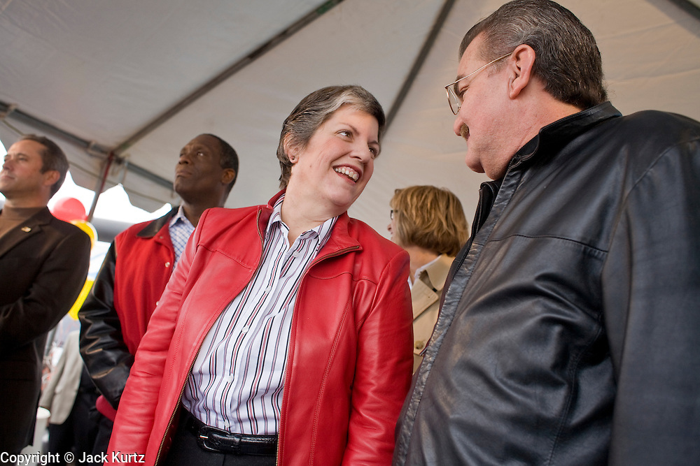 27 NOVEMBER 2008 -- PHOENIX, AZ: Arizona Governor Janet Napolitano, speaks to the crowd at a Thanksgiving breakfast in Phoenix, AZ. Napolitano, an early supporter of then Illinois Senator now President Elect Barack Obama, has been widely rumored to be Obama's choice for Secretary of the United States Department of Homeland Security. Napolitano, a Democrat, was the US Attorney for Arizona during the Clinton Administration, elected to Arizona Attorney General and, in 2002, elected Governor of Arizona. She was reelected in 2006. She has been a strong supporter of increased border enforcement.  Photo by Jack Kurtz / ZUMA Press